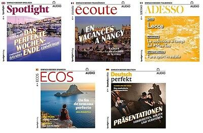 5 x Spotlight + ECOS + Ecoute + ADESSO + Deutsch Perfekt AUDIO-CD's - Juni 2018
