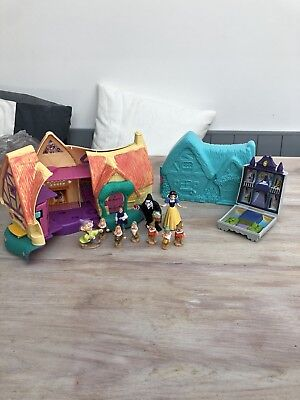 Polly Pocket Snow White Cottage & Figures Plus Disney Sleeping Beauty House