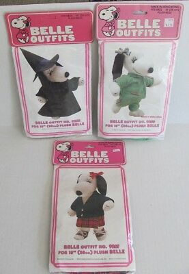 "3 Vintage SNOOPY Peanuts 15"" BELLE'S WARDROBE Outfits WITCH, Schoolgirl, JOGGING"