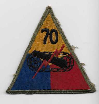Original WW2 US made 70th Tank Battalion patch -D Day - NICE WHITE BACK -US Army