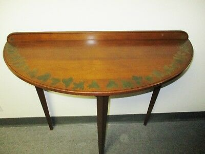 *sale* Signed Hitchcock Demilune Entrance Maple Cherry Stencil Table
