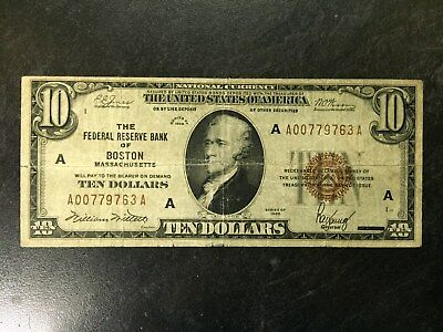 1929 United States Federal Reserve Bank Of Boston Mass $10 Dollar Bill