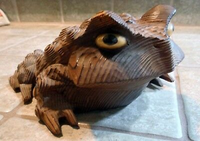Vintage Hand Carved Japanese Cryptomeria Cedar Wood Toad / Frog, Large Size