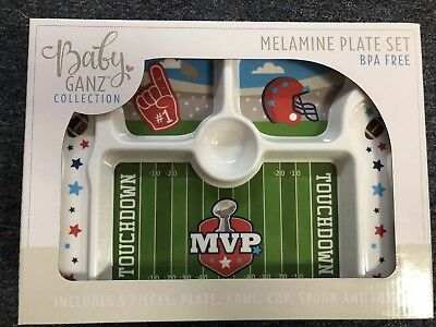 Child's Football Plate Set, Melamine, NIB