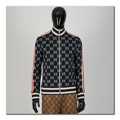 b7b790059 GUCCI 1980  AUTHENTIC New GG Jacquard Cotton Zip Up Track Jacket ...