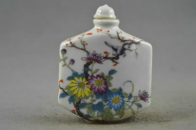 Collectable Handwork Porcelain Paint Chrysanthemum & Magpie Lucky Snuff Bottle