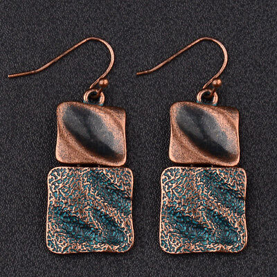 Vintage Ethnic Bronze Square Geometric Charm Women's Fashion Jewelry Earrings