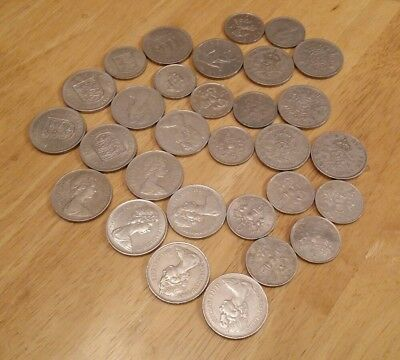 30 x old 5p, 10p and 2 shilling BRITISH JERSEY and IOM coins (30)