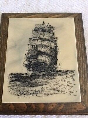 Arthur Beaumont Scrimshaw of Sailing Ship.  Framed 91/2 by 11 inches.