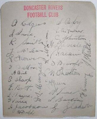 1935 Doncaster Rovers Football Club 28 Players & Staff All Original Autographs