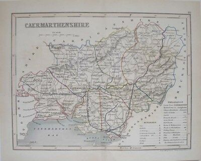 1835 Carmarthenshire Wales Welsh County Map Original English Antique Hand Colour