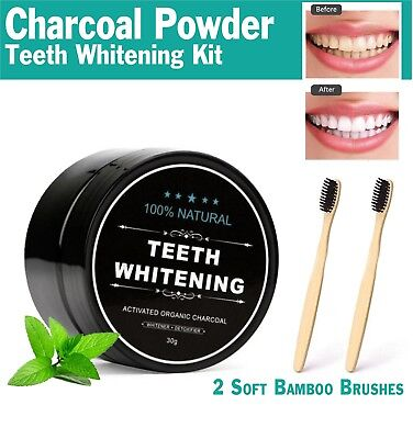 Charcoal Teeth Whitening Activated Powder Coco Organic Powder & 2 Toothbrushes