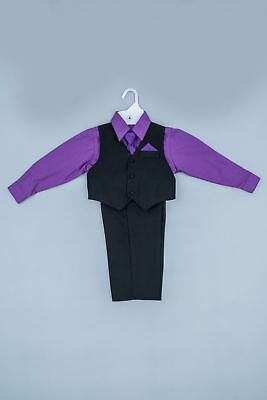 Boys Dress Suit 5pcs Formal Wear Bridal Party Birthday Special Event