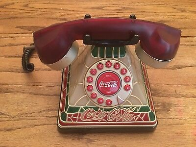 """Coca-Cola """"Stained Glass Look"""" Collectable Telephone"""