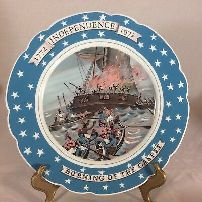 Vtg Souvenir Burning Of The Gaspee The Colonies Plate Full Color Ceramic