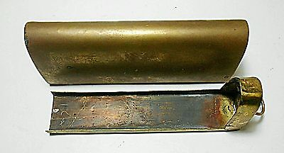19th Century Brass Medical Tin Box Handle Pull Slids & Solid 2 Piece
