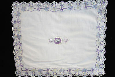 Vintage white nightdress case/child pillow cover purple, lemon embroidery.