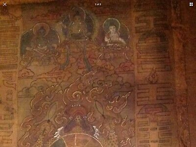 Rare!!! Bhutan !! Thangka Painting Over 90 Years Old.