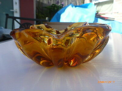 Art Glass Bowl Maurano or Venitian  brown gold colour