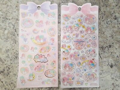 Little Twin Stars Sanrio kawaii stickers with gold accents lot of two