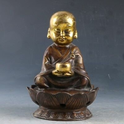 Chinese Copper Gilt Hand Carved Buddha Statue W Ming Dynasty Xuande Mark CC0448