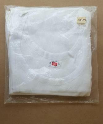 """Hanes Men's Athletic Shirts Package Of 3 Size Xl White Cotton """"wife Beater"""",vtg."""