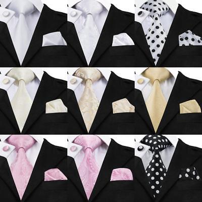 USA Wedding Tie Mens Floral Paisleys Silk Neck Ties Pink Black White Party Set