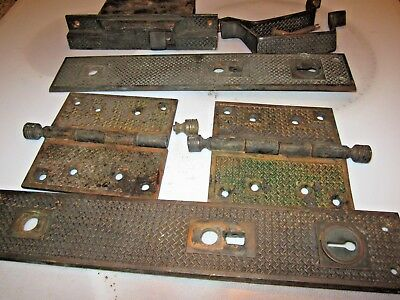 antique Russell & Irwin Eastlake door hardware hinges knob lock back plates 1897