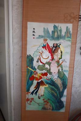 Hanging Chinese handmade Fine Bamboo Slat Painting with Silk Embroidery
