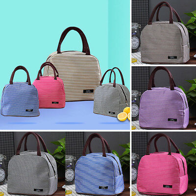 Stripe Portable Thermal Cooler Lunch Box Carry Tote Picnic Case Storage Bag