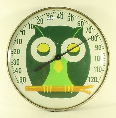 Round Wall Hanging OWL Thermometer With Bubble  Glass Face  Made in USA Working
