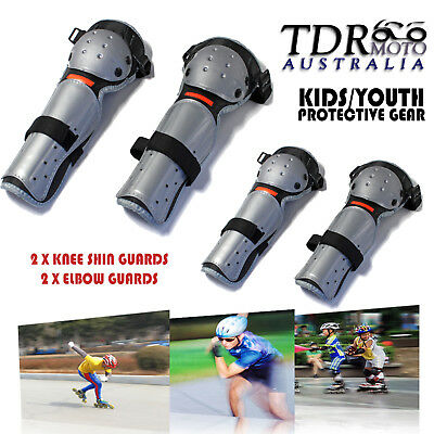 4pcs Set Skating Scooter Safety Elbow Knee Shin Pads Gear Protector Kids Junior