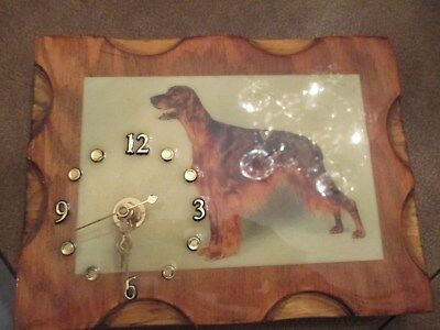 Irish Setter Clock handmade wood plank wall hanging plaque