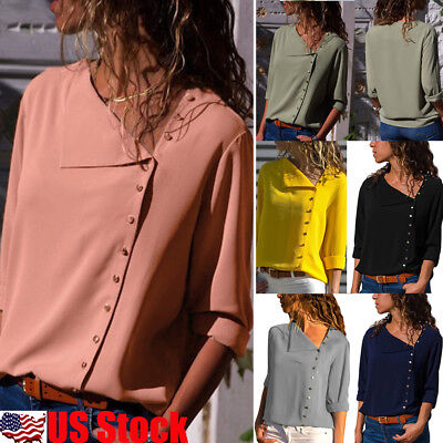 Womens Long Sleeve V Neck Loose Blouse Casual Shirt Summer Chiffon Tops T-Shirt