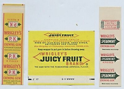 1960's Wrigley's Chewing Gum Wrappers Pk Juicy Fruit Arrowmnt Gd Cond L100(5)