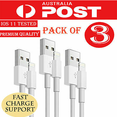 3X USB Data Lightning Cable Charger for Apple iPhone X 7 8 Plus Charging Cord