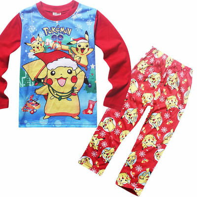 Baby Kids Toddler Girls Boys Pokemon Go Long Clothes Pajama Homewear Set Red 120