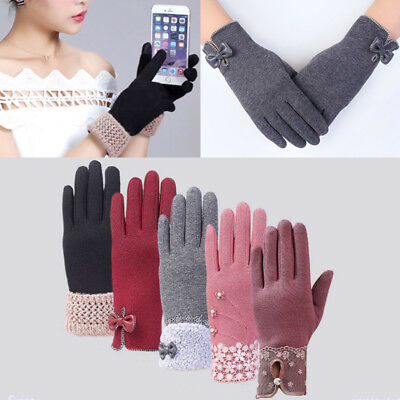 Women Full Fingers Bowknot Cashmere Warm Touch Screen Knit Gloves Winter New