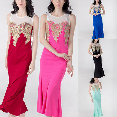 Mermaid Lace Prom Long Dresses Party Evening Formal Bridesmaid Cocktail Gown