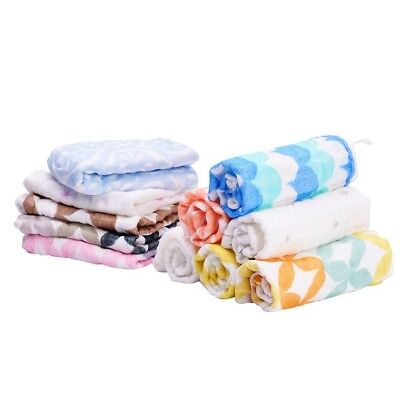 3 Pcs Baby Super Soft Printed Muslin Square Swaddling Burp Cloths Cotton