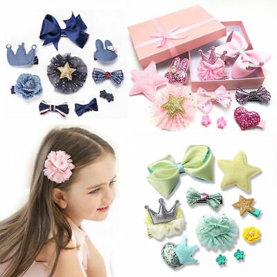 10Pcs/set Hairpin Baby Girl Hair Clip Bow Flower Mini Barrettes Star Kids Infant