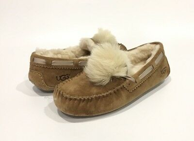 Ugg Dakota Pom Pom Moccasin Slippers Toscana Sheepskin Brown Chestnut -Us 8 -New