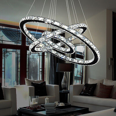 Modern LED Crystal Chandelier Pendant Lamp Ceiling Lighting 2/3 Ring Adjustable