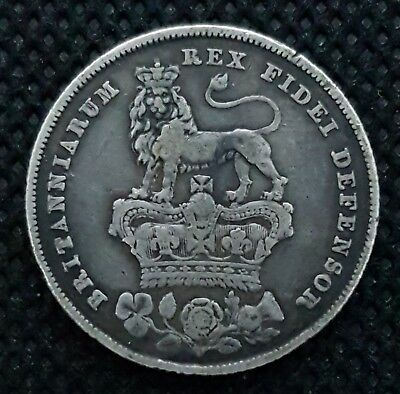 1826 Shilling, British Silver Coin, George Iv Bare Head