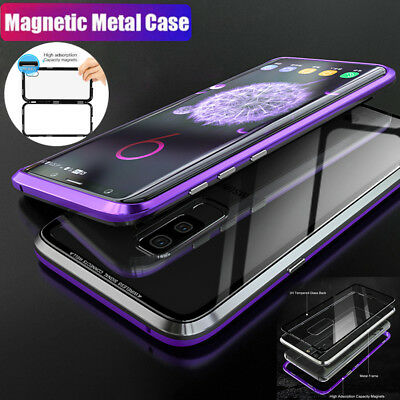 Magnetic Adsorption Metal Case For Samsung Galaxy S9 S8Plus Tempered Glass Cover