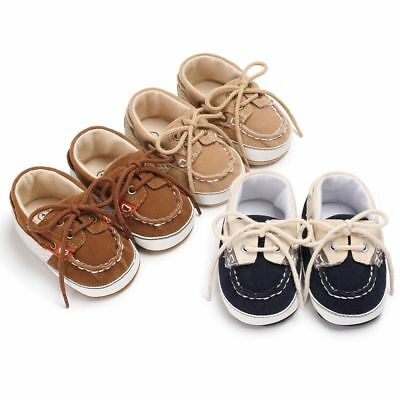 Toddler Kids Girl Boy Lace-up Crib Shoes Baby Prewalker Soft Sole Sneakers 0-18M