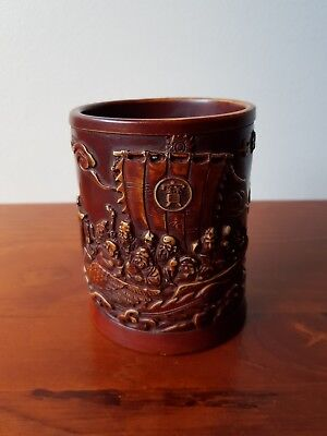 Oriental Chinese Resin Brush Pot Stationary Pen Pencil Cup Desktop Storage