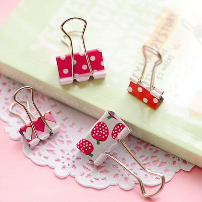 24pcs Fresh Style Flower Printed Metal Binder Clips Notes Letter Paper Clip