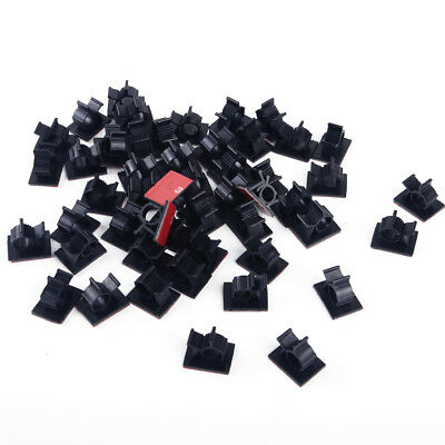50X Self Adhesive Adjustable Wire Cable Ties Clamps Sticker Clips Mount 10mm Max