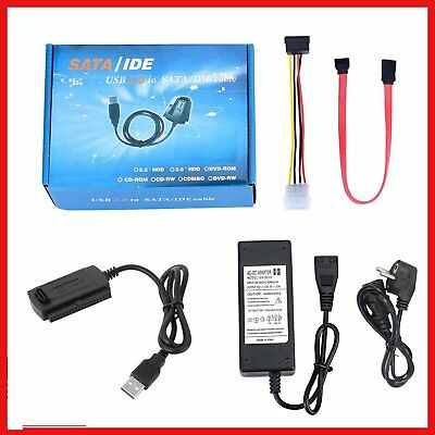 USB 2.0 to IDE SATA S-ATA 2.5 3.5 HD HDD Hard Drive Adapter Converter EU Plug XP